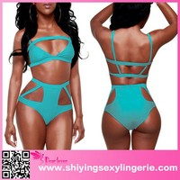 New Arrival Wholesale Blue Hollow out High-waisted open bikini www sexy girl com