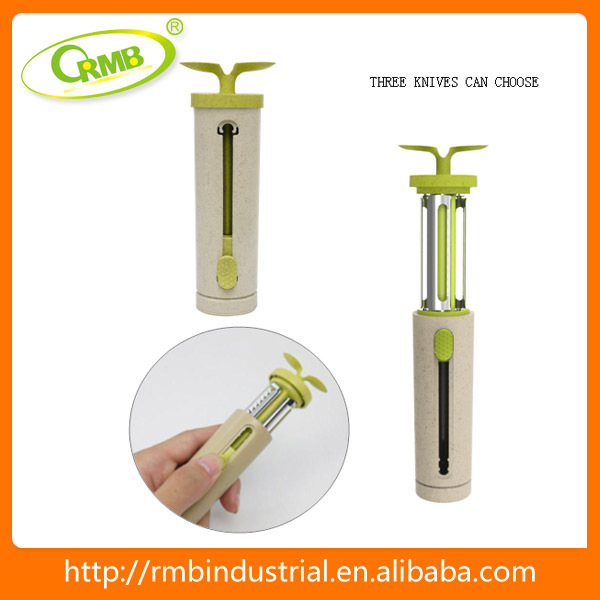 kitchen supplies 3 in 1 muti-fuctional vegetable fruit peeler Eco material biodegradable original designed couuld storage