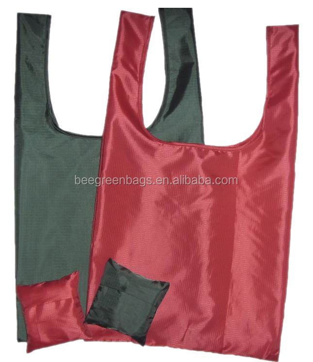 cheap Nylon reusable shopping bag with square pouch