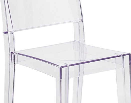 Flash Furniture Ghost Side <strong>Chair</strong> in Transparent Crystal