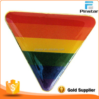 Triangle gold plating rainbow color custom metal pin badge with epoxy sticker