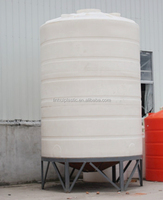 2000liters cone-bottom round food grade water tank with support cage