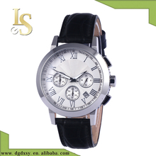 High quality Stainless steel watch Chronograph watch with silver color case with genuine leather strap