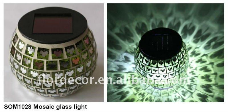 Led color changing Mosaic Solar Glass Lights