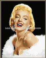 oil painting pictures of girl,hot selling beautiful decoration of Marilyn Monroe oil painting canvas