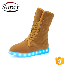 Online Wholesale Ladies Long Boots Female 2017 Winter Felt Led Light Up Snow Boots