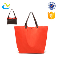Promo plain blank ripstop nylon reusable shopping bag pouch with pu leather handle
