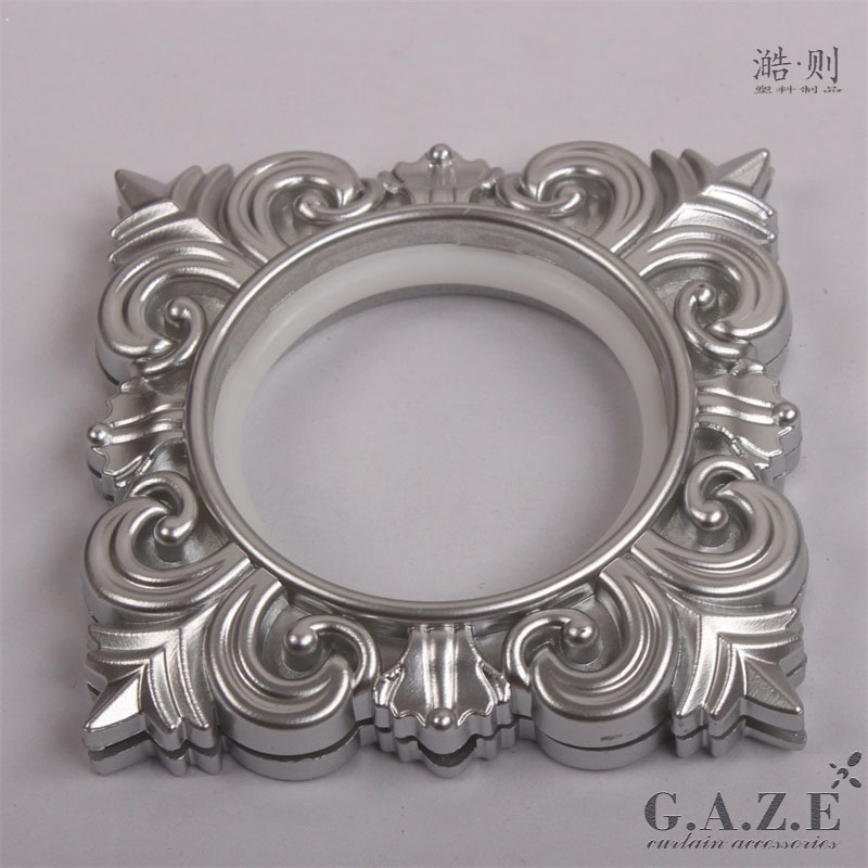 44mm self-tightening light silver embossed window decorative curtain rod plastic ring
