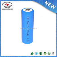 LiFePO4 Rechargeable 14505 Cell: 3.2V 600 mAh 0.6A Rate 2.22Wh (Button Top, Standard AA size) - UN38.3 Passed