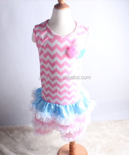 2015Factory Price! 100% cotton chiffon baby dress designs wholesale pink chevron dresses with flowers satin ruffles dress