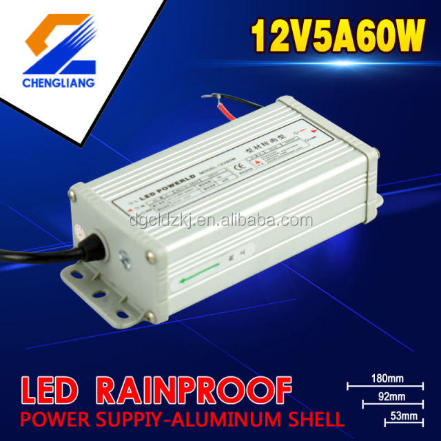 110V/220V AC/DC Constant voltage IP65 aluminium 60W12V5A LED Rainproof switching power supply or driver with aluminium