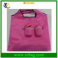 Drink Bottle Shaped Pink Color Eco Foldable Recycled Promotional Customized Reusable Shopping Bags