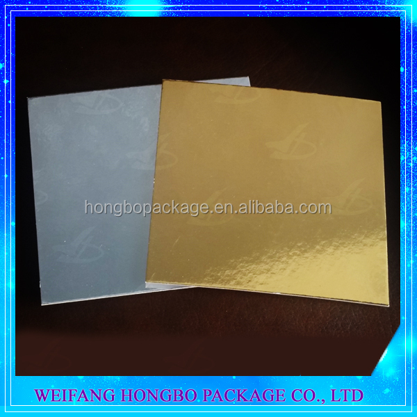 square silver gold foil laminated cake bases