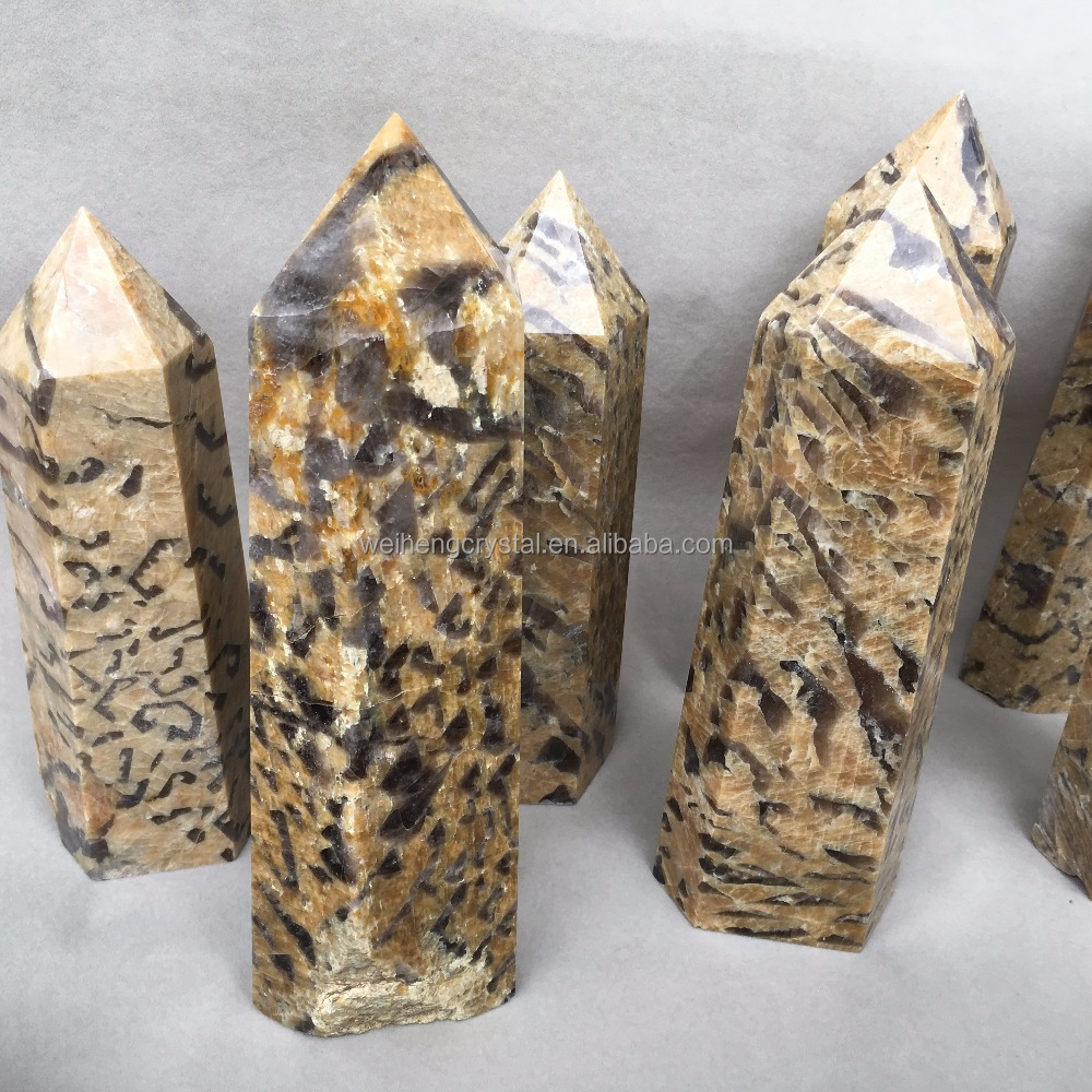 Natural leopard print Stone Crystal Wand Point For healing