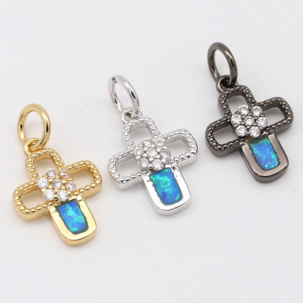 little cross Opal pendants, micro pave cz brass jewelry making for girlfriend
