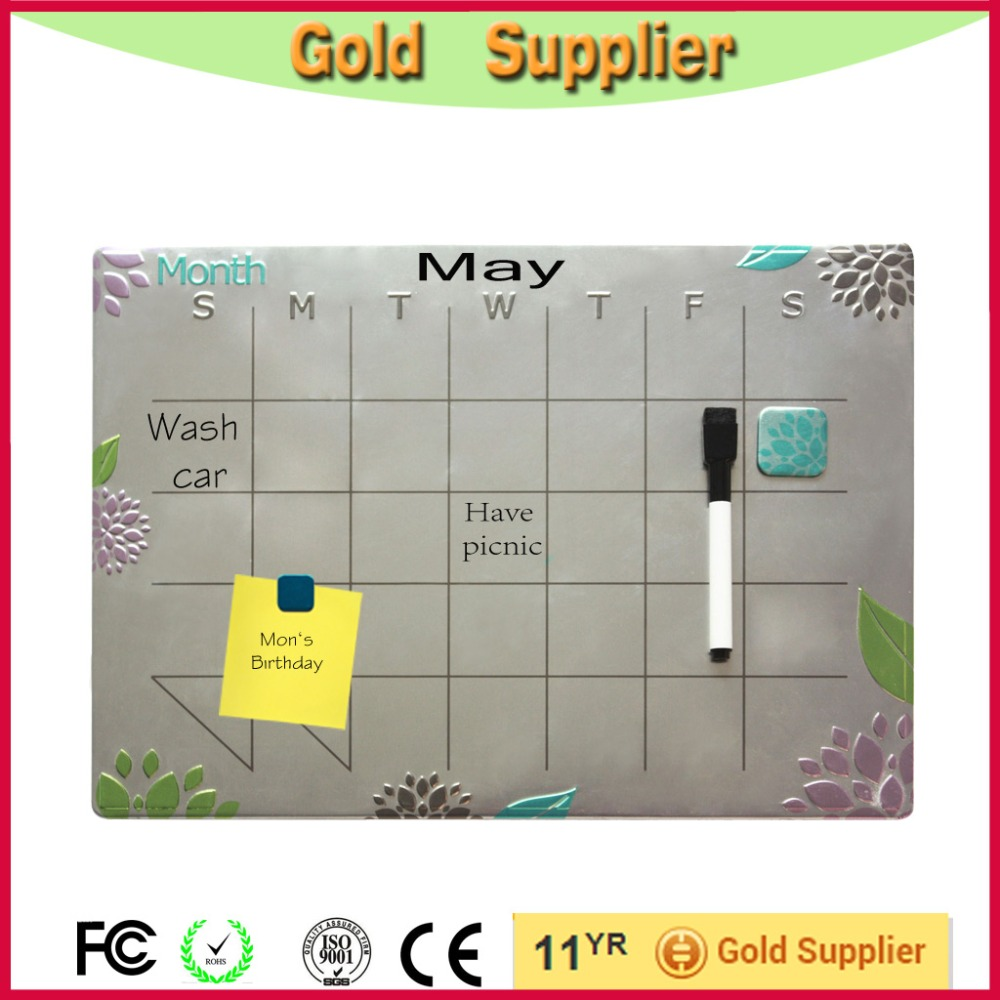 Office&school silver frmesless dry erase board/magnetic calendar whiteboard