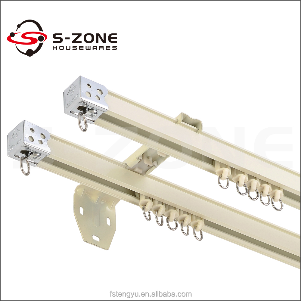 Sliding aluminum hotel double curtain track