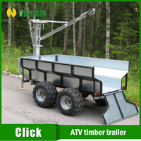 ATV log wood timber loader trailer with manual winch crane