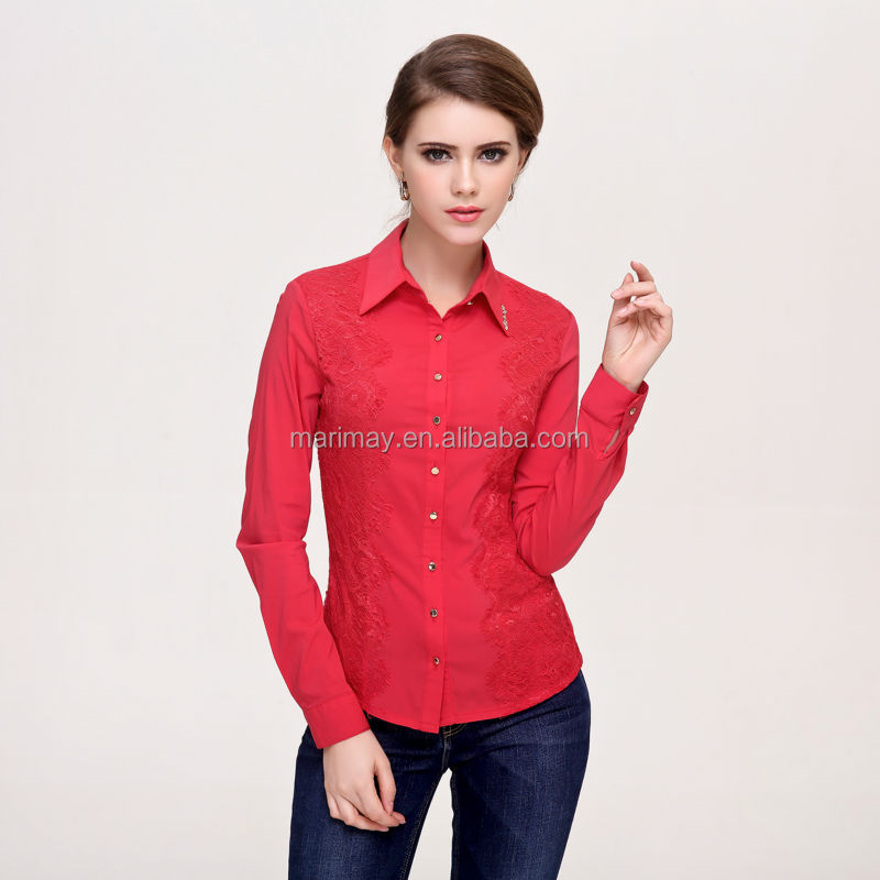 fashion lace blouse designs,high quality ladies blouse office uniform wear