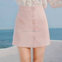 New Style Fall Women Fashion Elegant Skirts Thin Front Buckle Casual Cotton Skirts High Waist A Line Skirts For Girls