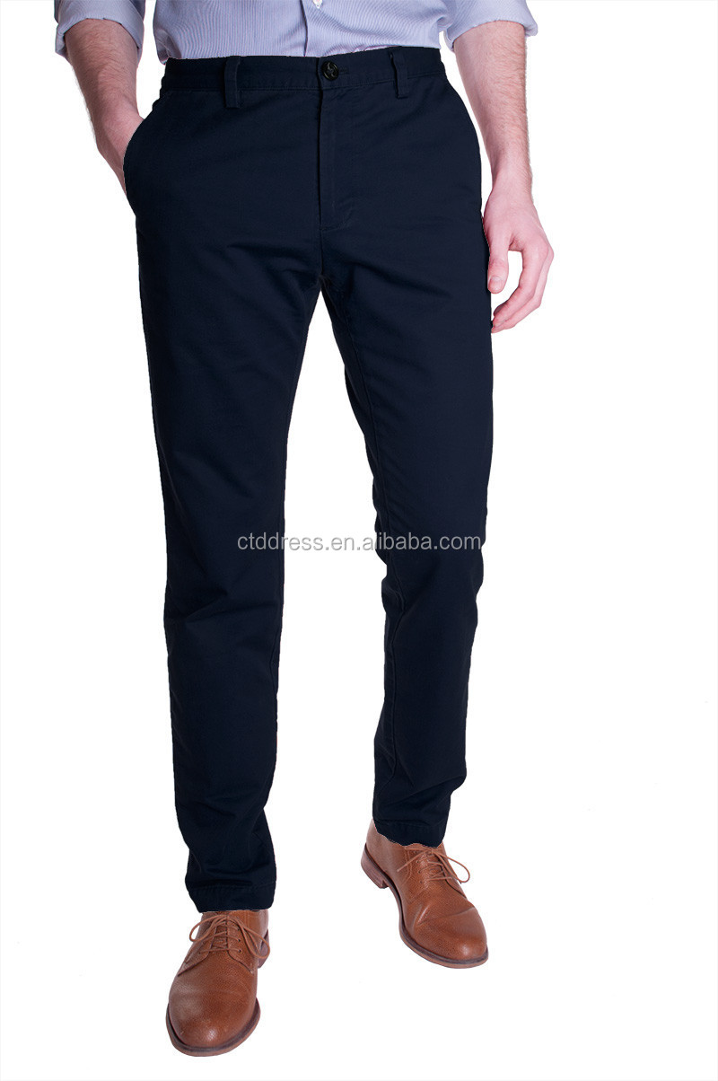 2015 New style 100% cotton dark blue men cotton chino pants