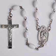 White Beads Crucifix Cross Religious Necklace Wholesale Bulk Christian Rosary