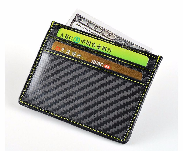 2017 New fashion! RFID Blocking 100% Genuine Leather Carbon Fiber Wallet