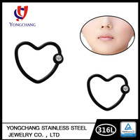 2016 Attractive designs of 316L surgical steel heart nose rings with diamond