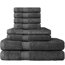 8 Piece Towel Set (Grey); 2 Bath Towels, 2 Hand Towels and 4 Washcloths - Cotton - Machine Washable, Hotel Quality, Super Soft