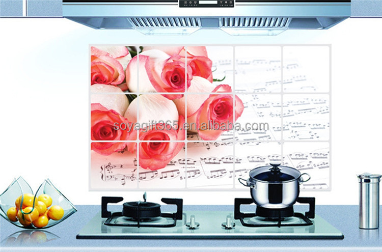 Oil Proof Wall Sticker Roses Music Note Decals Kitchen Decoration