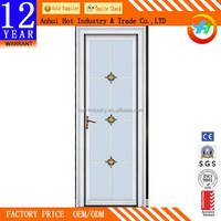 Unbreakable Washroom Door Double Tempered Frosted Glass Panel AL Frame Door Various Pattern Door