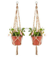 Wholesale 1pcs Macrame Plant Hanger Heavy Duty Patio Balcony Deck Ceiling For Round Square Containers Pots Indoor Decoration
