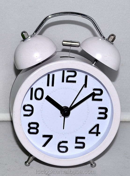 wall clock with date and day, metal twin-bell alarm clock with light