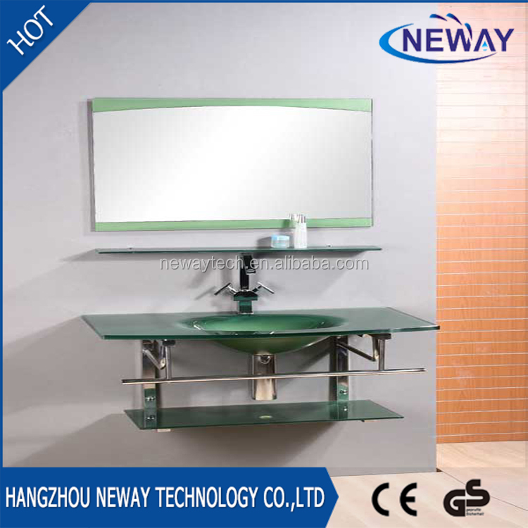 High quality wall mounted coloured glass wash hand basin with shelf