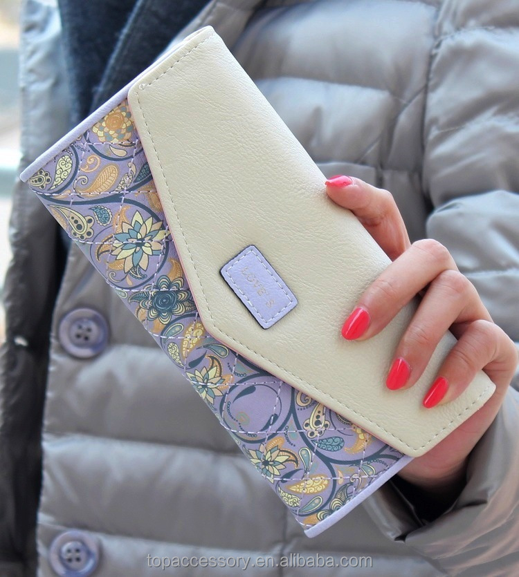 Fashion Cute PU Leather Flower Printed Wallet For Girl Woman Wholesale