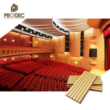 Conference hall soundproofing grooved wood acoustic panels
