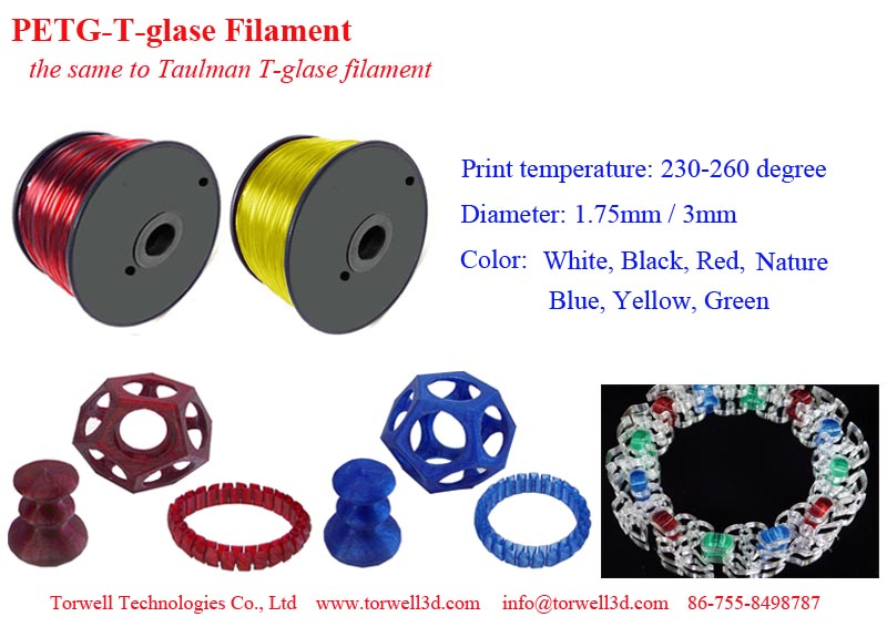 1.75 / 3mm PETGT-glass 3D plastic pellets for FDM 3D printer