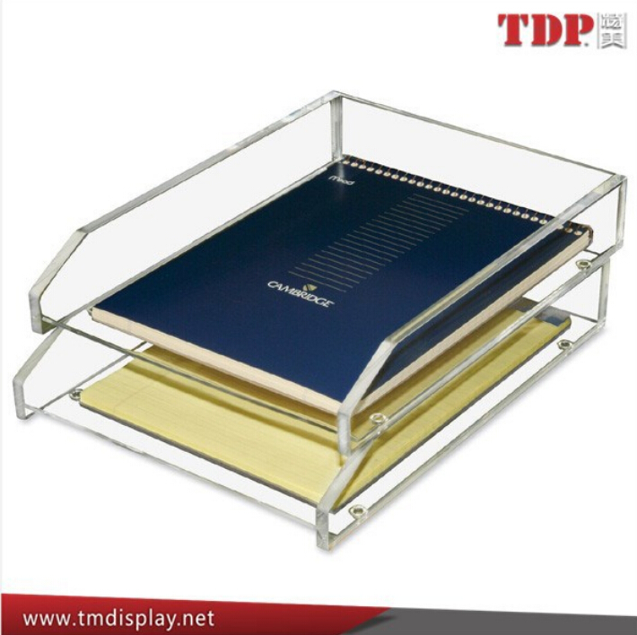 Factory 2 Tier letter desk organize plastic magaziner holders desktop plastic desk letter organizer acrylic office file tray