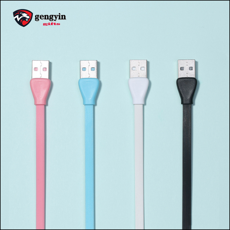 Custom logo pvc fast charging usb flat ribbon phone cable wire