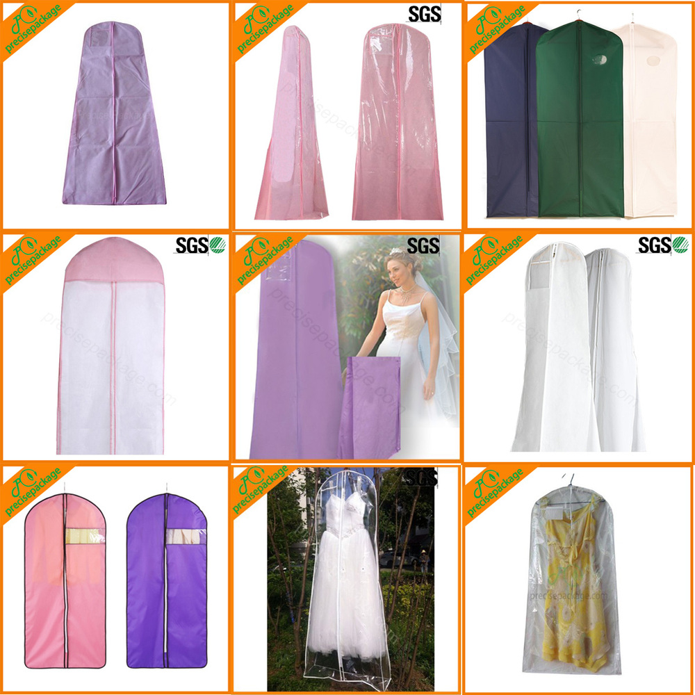 wholesale cheap reusable custom printed white wedding dress dustproof cover