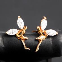 Light weight gold plating dancing fairy white zircon wing ladies stone earring