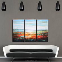 100% Hand Painted Abstract Seaside Sunset Wall Art Canvas Oil Painting For Home Decoration