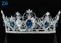 "Pageant 3.5"" Full Circle Tiara Simulated Blue Sapphire King / Queen Crown"