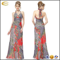 OEM wholesale Stunning Printed Adjustable halter evening chiffon dress Empired Waist Full Length all types of ladies dresses