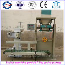 Automatic quantitive grain plastic bag filling and sewing machine