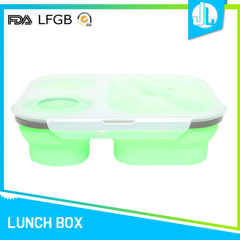 Anti-stain silicone material FDA & LFGB bpa free 3 compartment lunch box