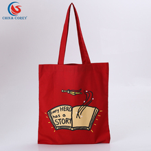 household red solid color canvas shopping tote bag for women