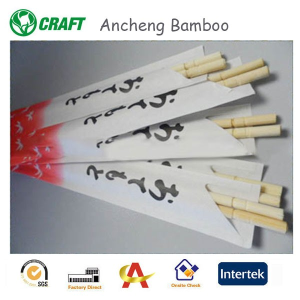 quality-assured 23cm chopsticks bamboo with logo on wrapped paper