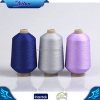 Free yarn samples High quality colored dope dyed grey polyester yarn