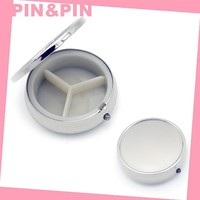 professional blank zinc alloy nickel plating mini round cosmetic case